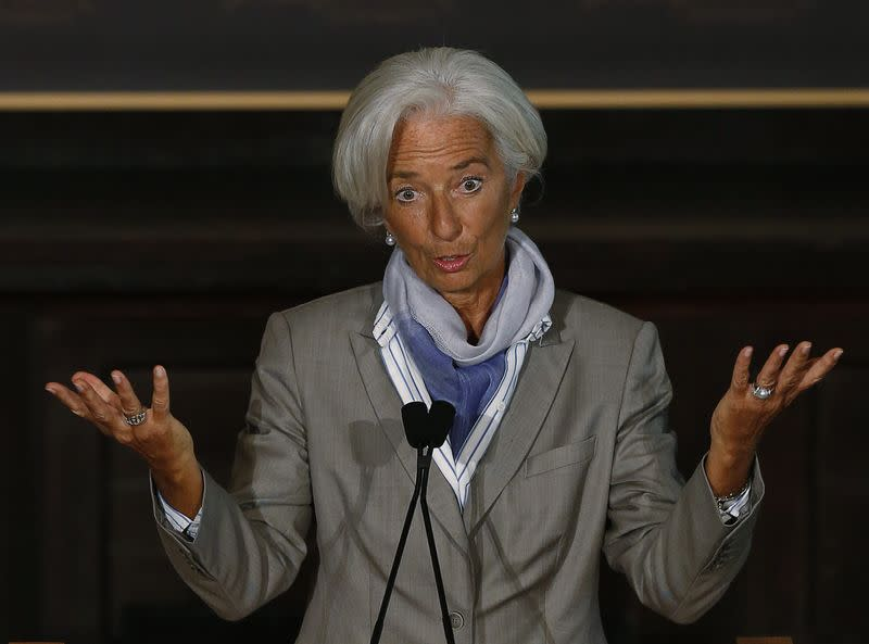 IMF Director Lagarde delivers her speech on the global economy ahead of the fall meetings of the IMF and World Bank at Georgetown University in Washington