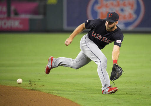 Cleveland Indians second baseman Mike Freeman fields a ball hit by Los Angeles Angels' Luis Rengifo before throwing him out at first during the eighth inning of a baseball game Tuesday, Sept. 10, 2019, in Anaheim, Calif. (AP Photo/Mark J. Terrill)