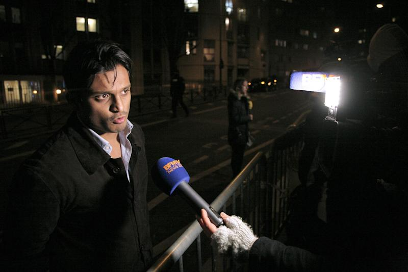 Sanjay Mirabeau, lawyer of French comic Dieudonne M'bala M'bala, speaks to the press in front of the police station where the controversial comic was detained, on January 14, 2015 in Paris (AFP Photo/Matthieu Alexandre)