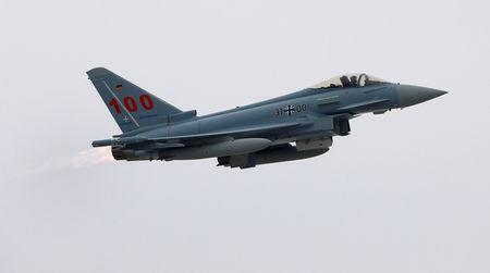 FILE PHOTO: Eurofighter Typhoon starts during delivery of 100th Eurofighter to German airforce at headquarter of Military Air Systems Centre Cassidian in Manching