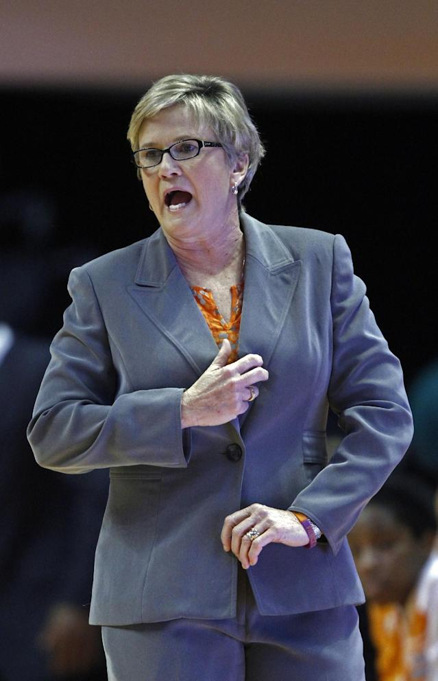 Tennessee coach Holly Warlick yells to her team during the first half of an NCAA college basketball game against LSU on Thursday, Jan. 2, 2014, in Knoxville, Tenn. LSU won 80-77. (AP Photo/Wade Payne)
