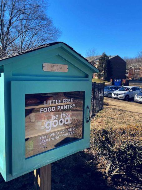PHOTO: Amber and Sterling Marchand's Be The Good Project is posting little free food pantries around the Alexandra, Virginia, area. (Amber and Sterling Marchand/Be The Good Project)