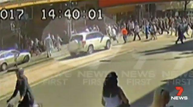 New footage shows the harrowing moment the car ploughed into pedestrians. Source: 7 News