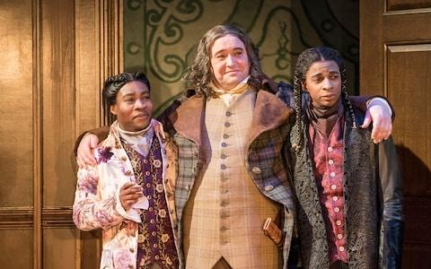 Fisayo Akinade, Christian Patterson and Simon Manyonda in The Way of the World - Credit: Johan Persson