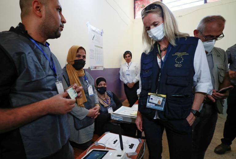 Viola von Cramon head of an EU observer team visits a polling station in the Iraqi capital Baghdad and lamented a low turnout (AFP/Ahmad Al-Rubaye)
