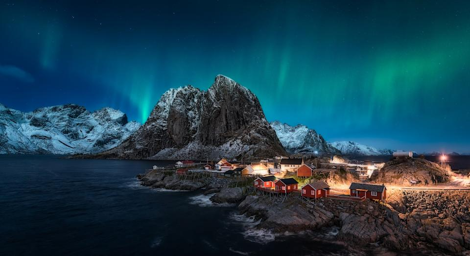 Dancing over Hamnoy, Norway (Getty)