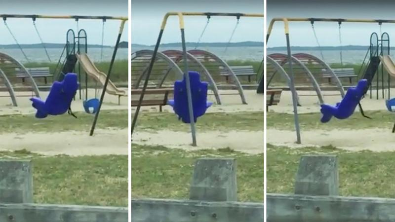 Scott Denton live streamed the chilling moment a swing moved back and forth in a deserted and windless park on Rhode Island. Photo: Facebook