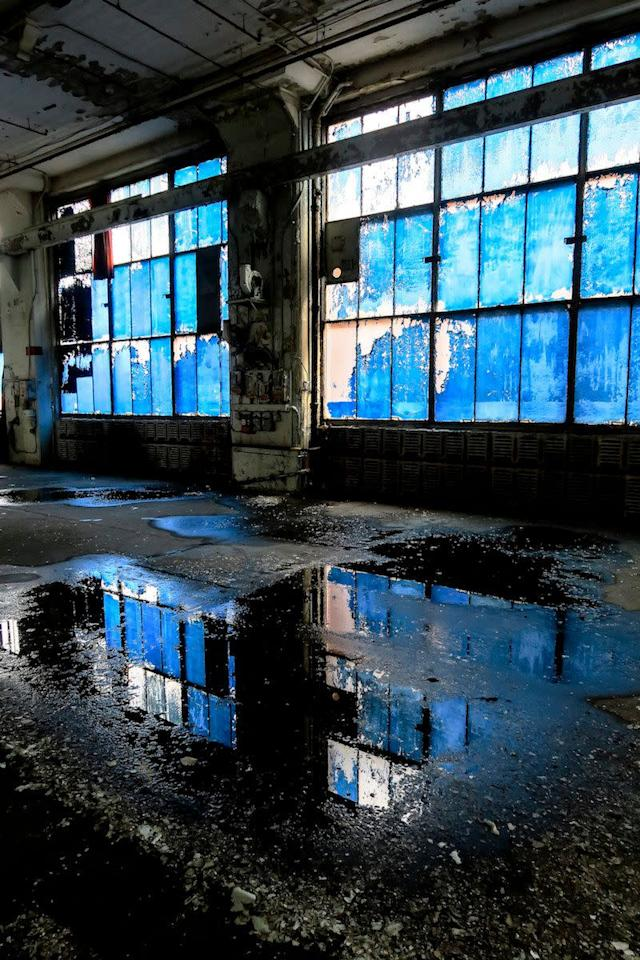 Water leaking into one of the abandoned General Electric factory buildings.