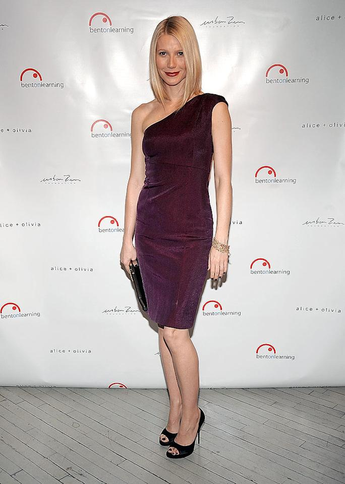 "Gwyneth Paltrow hit the red carpet for the Bent on Learning Benefit in New York City. The non-profit organization arranges yoga and meditation classes in the city's public schools. Healthy living has certainly worked for the 36-year-old -- she's never looked better! Jamie McCarthy/<a href=""http://www.wireimage.com"" target=""new"">WireImage.com</a> - February 25, 2009"