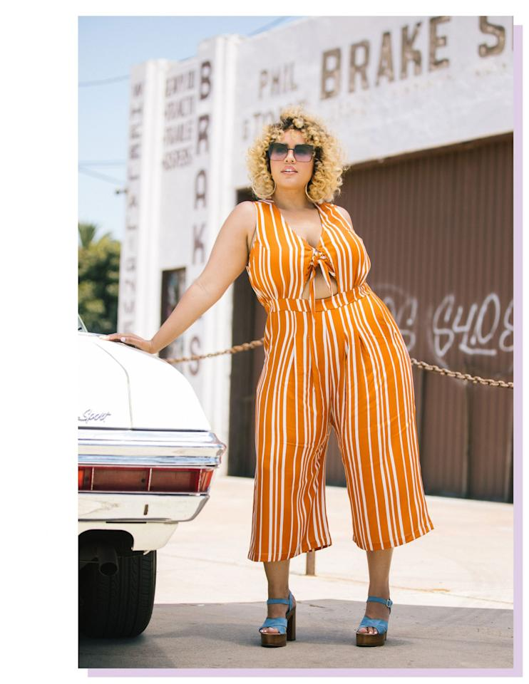 """<p>Striped Tie-Front Jumpsuit, $79, <a rel=""""nofollow"""" href=""""https://www.premme.us/summer-collection-2017/striped-tie-front-jumpsuit.html"""">Premme </a> </p>"""