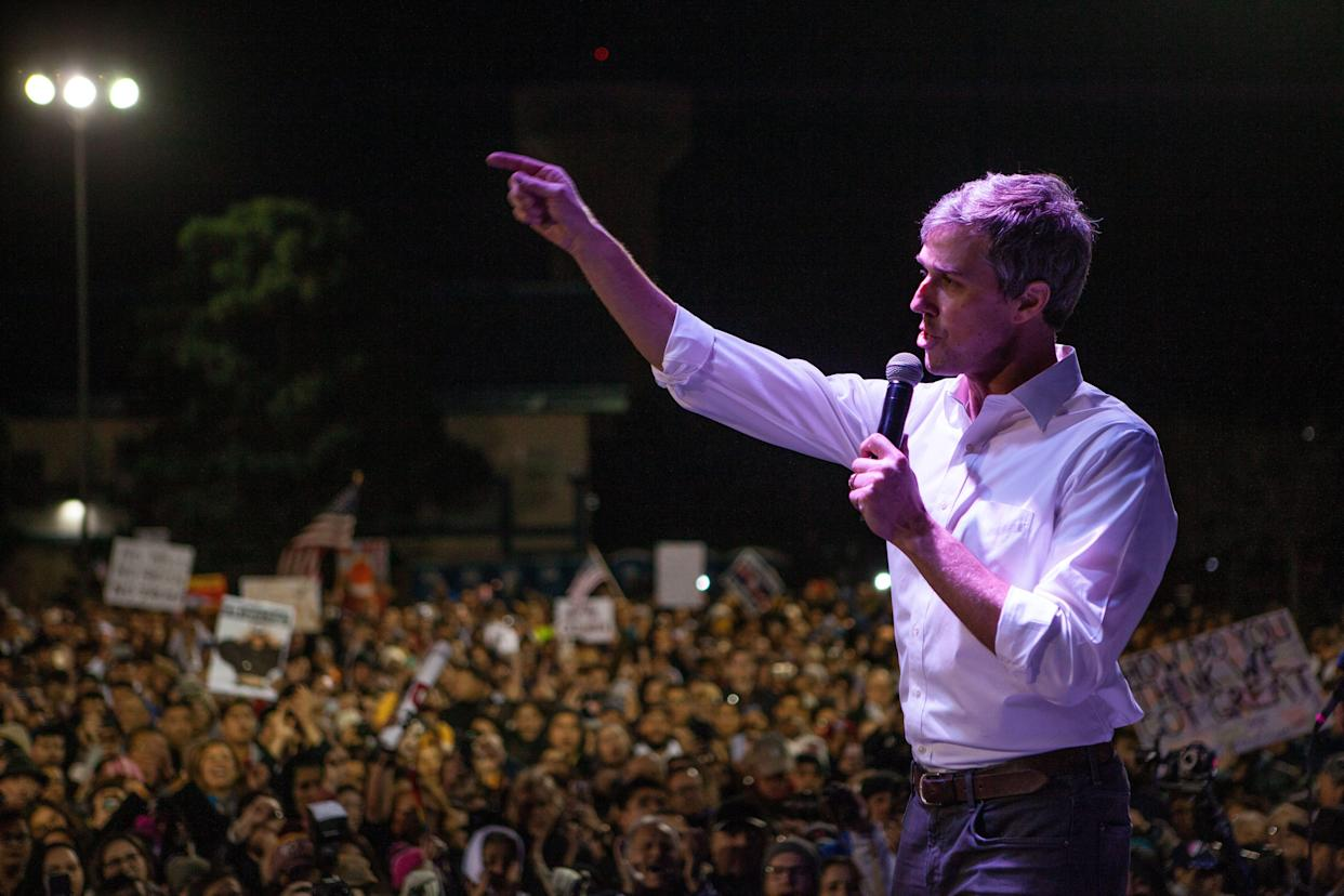 Beto O'Rourke speaks at Chalio Acosta Sports Center in El Paso, Texas, on Feb. 11, 2019. (Photo: Christ Chavez/Getty Images)