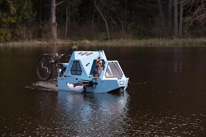 The quirky multipurpose Zeltini Z-Triton amphibious boat, tricycle, and camper.