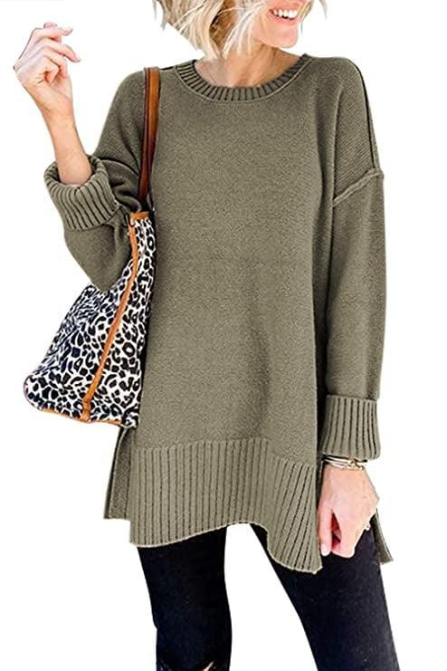 <p>Toss this oversized <span>Merokeety Crewneck Side-split Sweater</span> ($20-$29) on over leggings and head to brunch.</p>