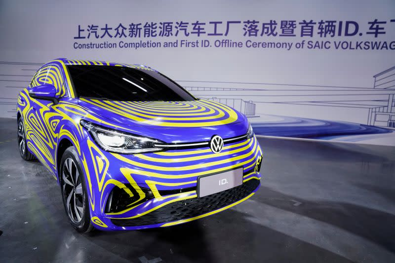 FILE PHOTO: Volkswagen electric ID car is seen during a construction completion event of SAIC Volkswagen MEB electric vehicle plant in Shanghai