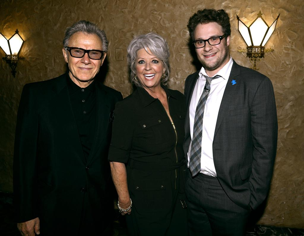 NEW YORK, NY - OCTOBER 13:  (EXCLUSIVE COVERAGE) Harvey Keitel,  Paula Deen and Seth Rogen backstage at Comedy Central's Night of Too Many Stars: America Comes Together for Autism Programs at The Beacon Theatre on October 13, 2012 in New York City.  (Photo by Kevin Mazur/WireImage)