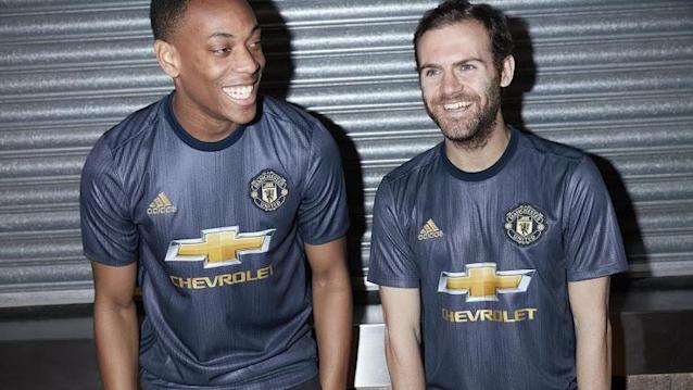 <p>It might be inspired by the 50th anniversary of United's European Cup win, but that does not mean it's nice. A blue kit than shimmers in the light and looks more like tin foil. (MUFC website) </p>
