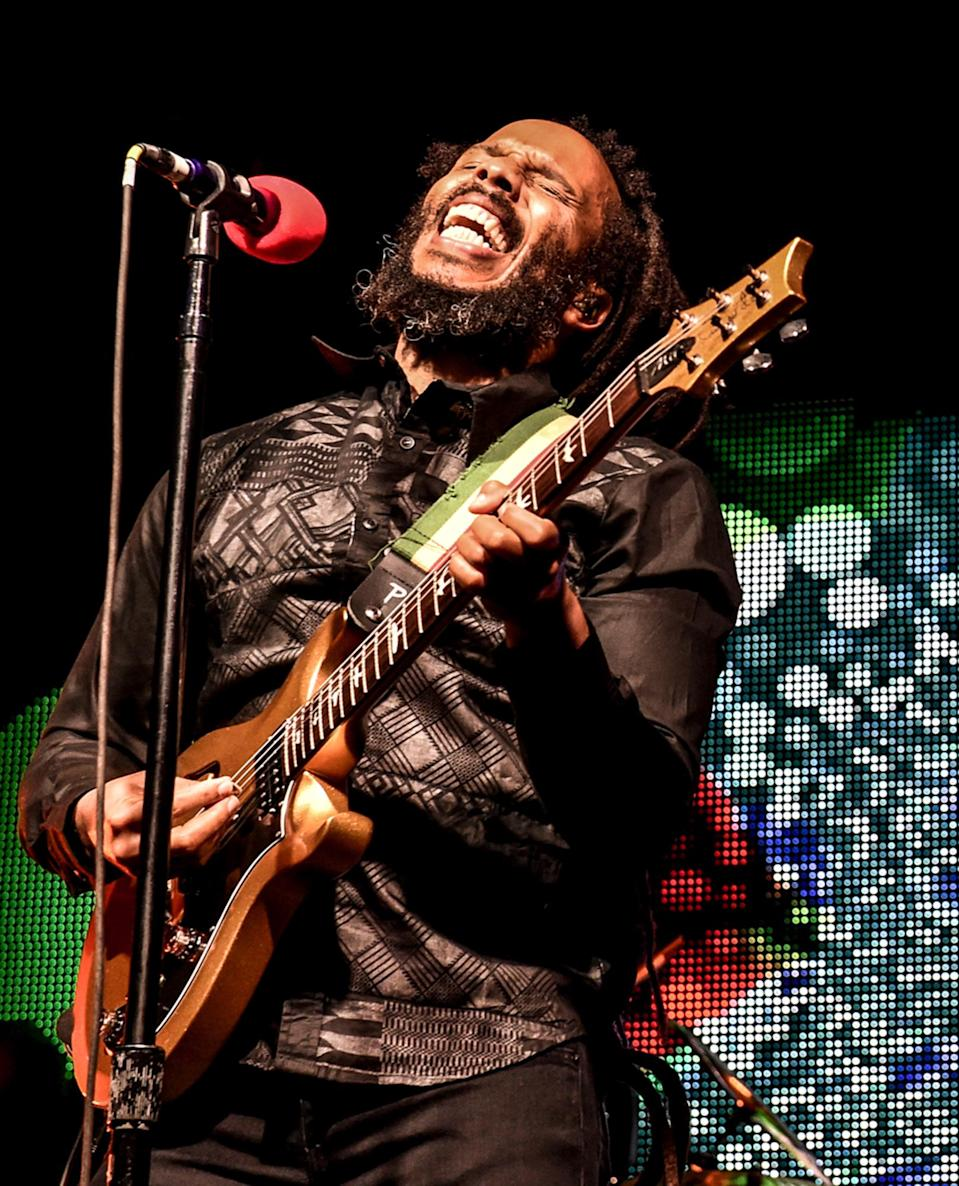 <p>Ziggy Marley performs at The City National Grove of Anaheim on Saturday in Anaheim, California.</p>