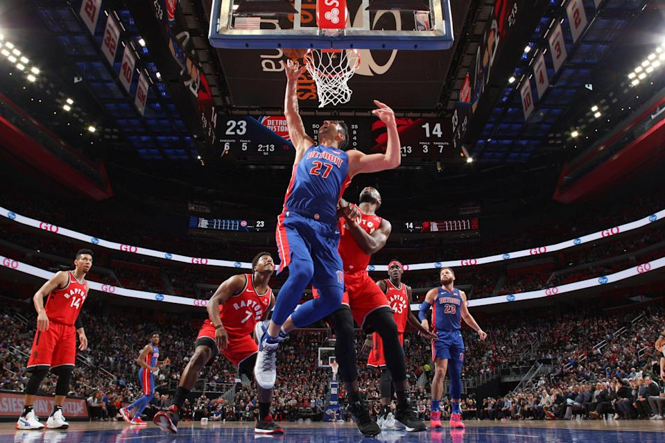 DETROIT, MI - MARCH 3: Zaza Pachulia #27 of the Detroit Pistons goes to the basket against the Toronto Raptors on March 3, 2019 at Little Caesars Arena in Detroit, Michigan. NOTE TO USER: User expressly acknowledges and agrees that, by downloading and/or using this photograph, user is consenting to the terms and conditions of the Getty Images License Agreement. Mandatory Copyright Notice: Copyright 2019 NBAE (Photo by Brian Sevald/NBAE via Getty Images)