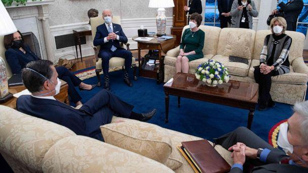PHOTO: President Joe Biden and Vice President Kamala Harris meet with Republican Senators, lead by Sen. Susan Collins, alongside Sen. Lisa Murkowski, and Sen. Mitt Romney to discuss a coronavirus relief plan in the Oval office, Feb. 1, 2021.  (Saul Loeb/AFP via Getty Images)