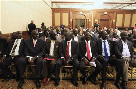 Members of South Sudan rebel delegation attend the opening ceremony of South Sudan's negotiation in Ethiopia's capital Addis Ababa, January 4, 2014. REUTERS/Tiksa Negeri