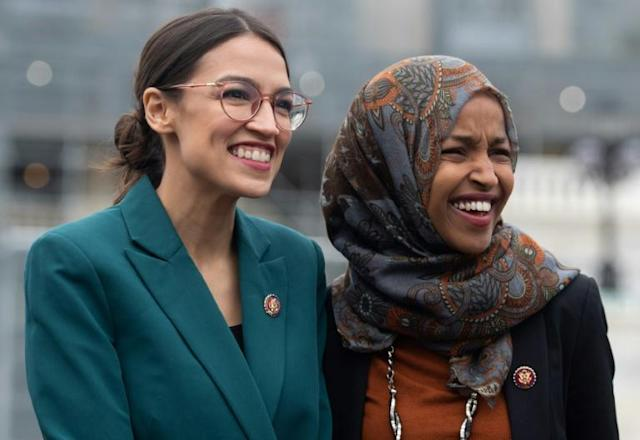 Representative Alexandria Ocasio-Cortez (L), a Democrat from New York, and Representative Ilhan Omar (R), a Democrat of Minnesota, are among a group of Democratic congresswomen who have come under attack by President Donald Trump (AFP Photo/SAUL LOEB)