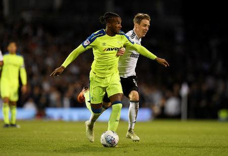 Soccer Football - Championship Play Off Semi Final Second Leg - Fulham vs Derby County - Craven Cottage, London, Britain - May 14, 2018 Fulham's Stefan Johansen in action with Derby's Kasey Palmer Action Images via Reuters/Tony O'Brien