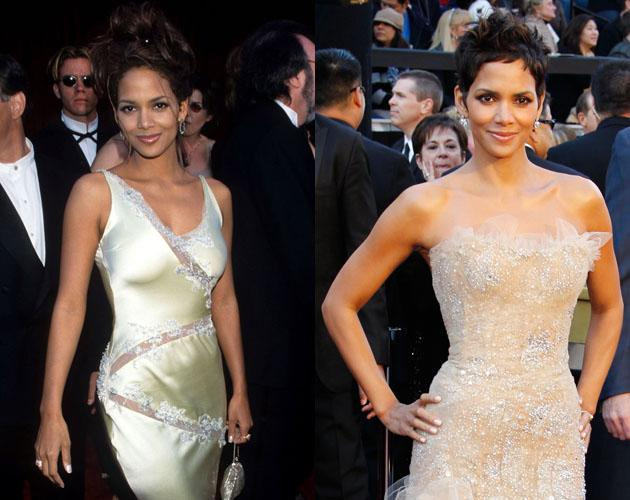 "In 1998 Halle Berry attended the Oscars in a lacey off white dress. More than a decade later with an Oscar win for Best Actress in ""Monster's Ball,"" Berry looks even more radiant in another lace off white dress."