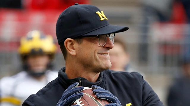 Reporters were surprised this morning at Jim Harbaugh's voice. Probably not pleasantly.
