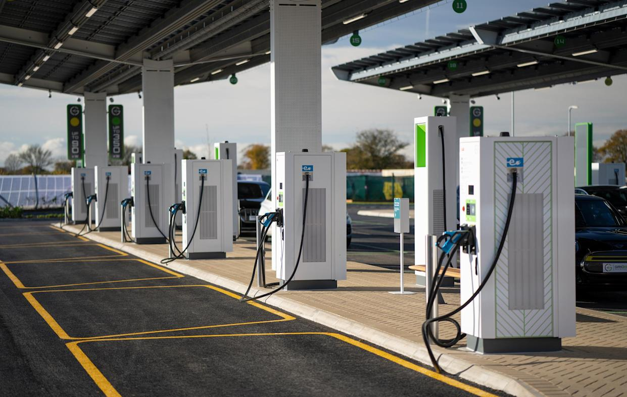 Electric chargers at the Gridserve Electric Forecourt