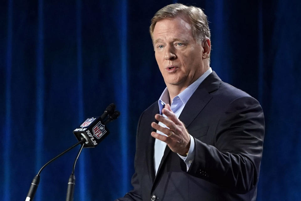 """FILE - In this Jan. 29, 2020, file photo, NFL Commissioner Roger Goodell answers a question during a news conference for the NFL Super Bowl 54 football game in Miami. The NFL will nearly double its media revenue to more than $10 billion a season with new rights agreements announced Thursday, March 18, 2021 including a deal with Amazon Prime Video that gives the streaming service exclusive rights to """"Thursday Night Football"""" beginning in 2022(AP Photo/David J. Phillip, File)"""