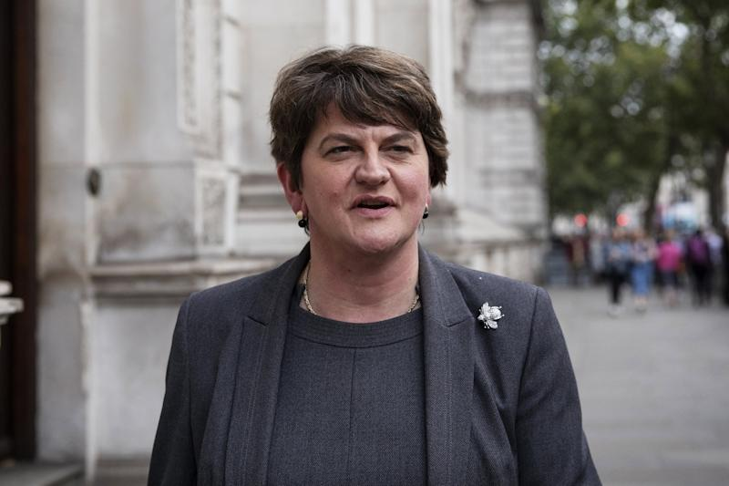 Arlene Foster, leader of the DUP leaves Downing Street following talks with UK Prime Minister: Getty Images