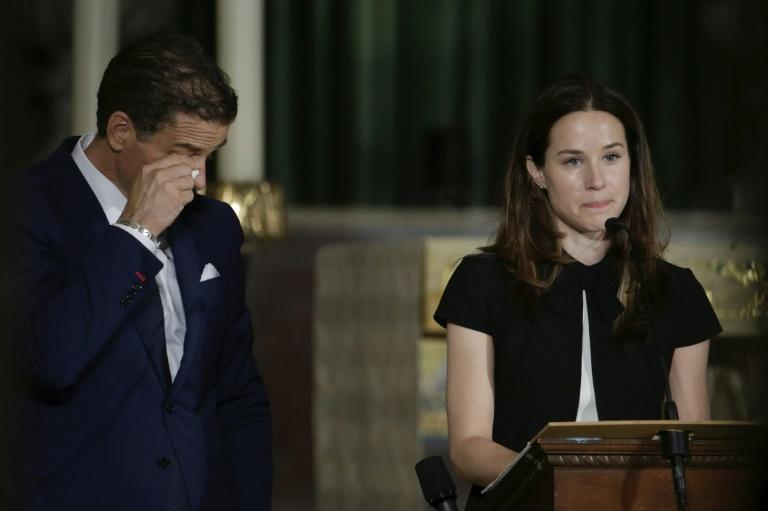 Hunter Biden wipes away a tear as his sister Ashley delivers a eulogy for their brother Beau in June 2015 (AFP Photo/PABLO MARTINEZ MONSIVAIS)