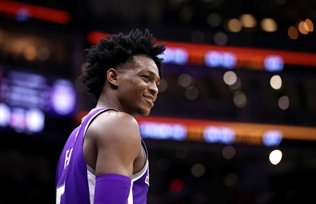 Second-year guard De'Aaron Fox has the Sacramento Kings still believing a playoff spot is possible. (Getty Images)