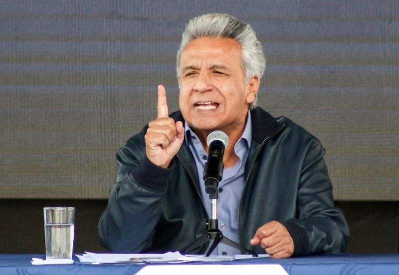 "In a Guardian interview, Ecuadoran President Lenin Moreno charged that Assange ""mistreated our officials (and) started to make legal threats even against who was helping him"" (AFP Photo/PABLO COZZAGLIO)"