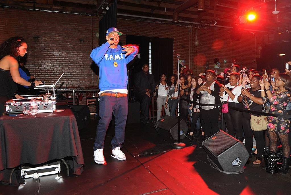 """The singer scheduled four of these private events around the country (Atlanta, Los Angeles, Washington, D.C., and New York) as part of a global, interactive campaign that Brown is launching to get more people to listen to his music using viral resources, and to reward his supporters, better known as Team Breezy. Rick Diamond/<a href=""""http://www.wireimage.com"""" target=""""new"""">WireImage.com</a> - March 15, 2011"""