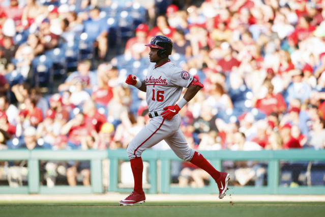 Washington Nationals' Victor Robles runs after hitting a deep flyout during the fourth inning of a baseball game against the Philadelphia Phillies, Friday, July 12, 2019, in Philadelphia. (AP Photo/Matt Slocum)