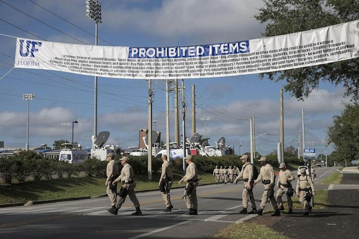 <p>A list of prohibited items are seen in preparation for the Richard Spencer speech at the Phillips Center for the Performing Arts on the University of Florida campus in Gainesville, Fla., Oct. 19, 2017. (Photo: Alex Menendez/REX/Shutterstock) </p>