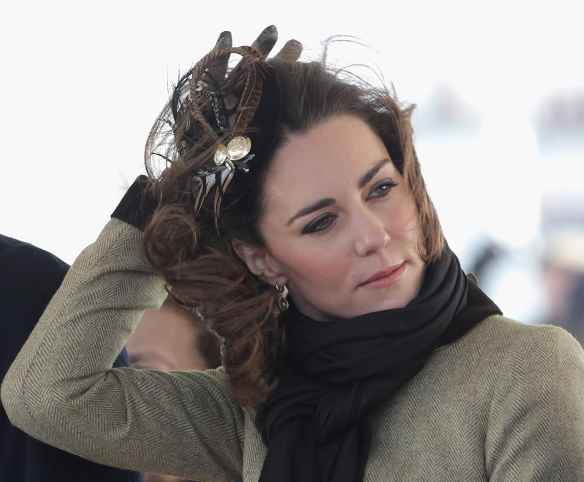 "<div class=""caption-credit""> Photo by: Chris Jackson/Getty Images</div><div class=""caption-title""></div>But two months before her wedding she learned not all fashion has a royal function. At an official waterside event on a windy day, Kate's pheasant-feathered Vivien Sheriff fascinator made for some odd photo ops as she struggled to keep it in place. <br>"