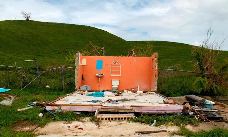 A destroyed house is seen in the aftermath of Hurricane Maria in Naguabo, Puerto Rico.