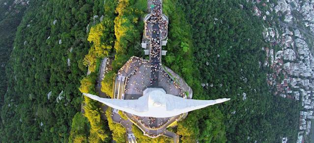 <p>The Christ the Redeemer in Rio de Janeiro, by Alexandre Salemm, taken at 2,952 feet. (Caters News) </p>