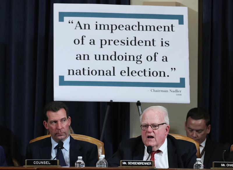 Rep. James Sensenbrenner (D-WI) questions constitutional scholars during testimony before the House Judiciary Committee in the Longworth House Office Building on Capitol Hill, Washington, DC, USA, 04 December 2019. EFE/EPA/Drew Angerer
