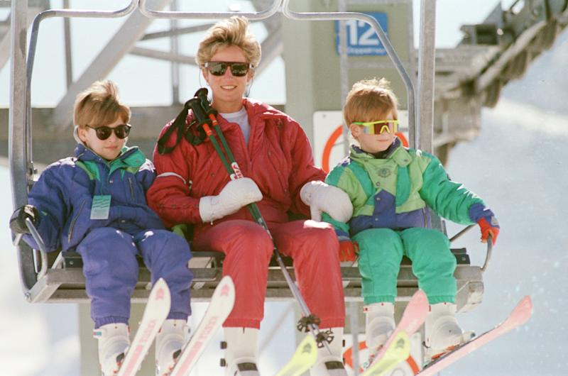 The Princess of Wales, Princess Diana, and her sons William and Harry on a ski holiday to Switzerland. Prince Charles is to join them after he has completed some engagements. Picture taken 7th April 1995. (Photo by Kent Gavin/Mirrorpix/Getty Images)