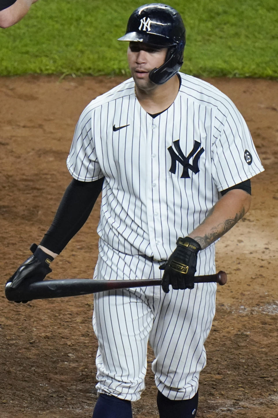 New York Yankees' Gary Sanchez reacts after striking out to end a baseball game against the Boston Red Sox Friday, June 4, 2021, in New York. (AP Photo/Frank Franklin II)