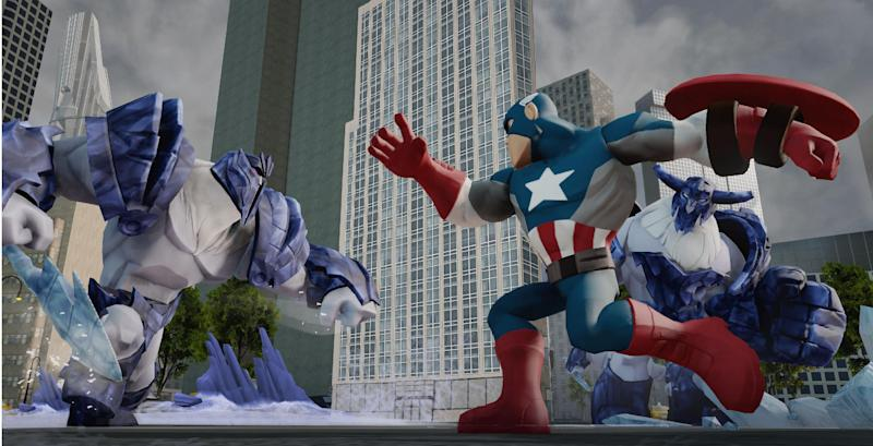 """This photo provided by Disney shows Marvel's The Avengers play set from """"Disney Infinity"""" (2.0 edition). Walt Disney Co. is adding several Marvel superheros to its toys-meets-game series """"Disney Infinity."""" The company announced plans on Wednesday, April 30, 2014, to bring such characters as Captain America, Iron Man and Thor to a new installment of the game. (AP Photo/Disney)"""