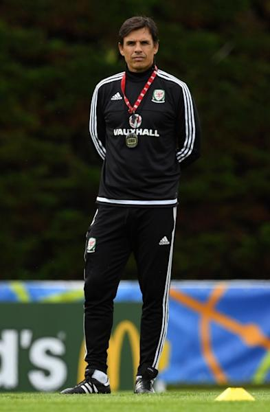 Wales manager Chris Coleman oversees a training session in Dinard, northwest France, on July 4, 2016 (AFP Photo/Paul Ellis)