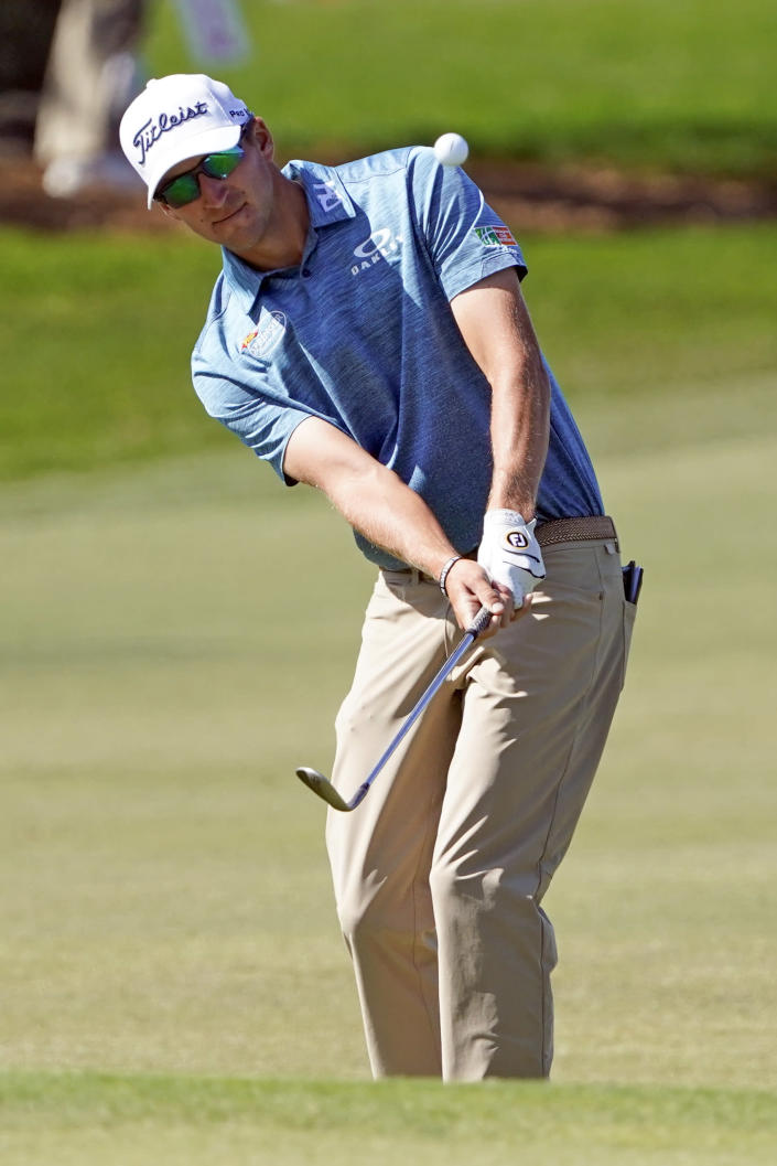 Richy Werenski chips a shot to the sixth green during the final round of the Arnold Palmer Invitational golf tournament Sunday, March 7, 2021, in Orlando, Fla. (AP Photo/John Raoux)