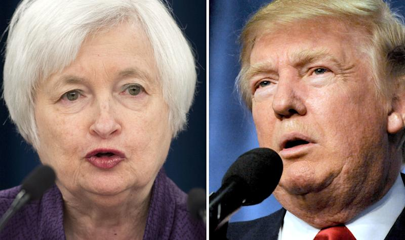 Federal Reserve Board Chair Janet Yellen, left, and President Donald Trump, right.