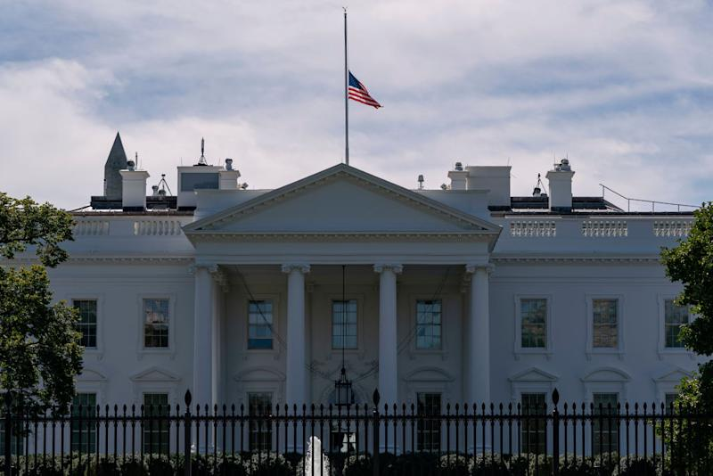 The US flag flies at half-mast above the White House after the passing of US Supreme Court Justice Ruth Bader Ginsburg. Source: Getty