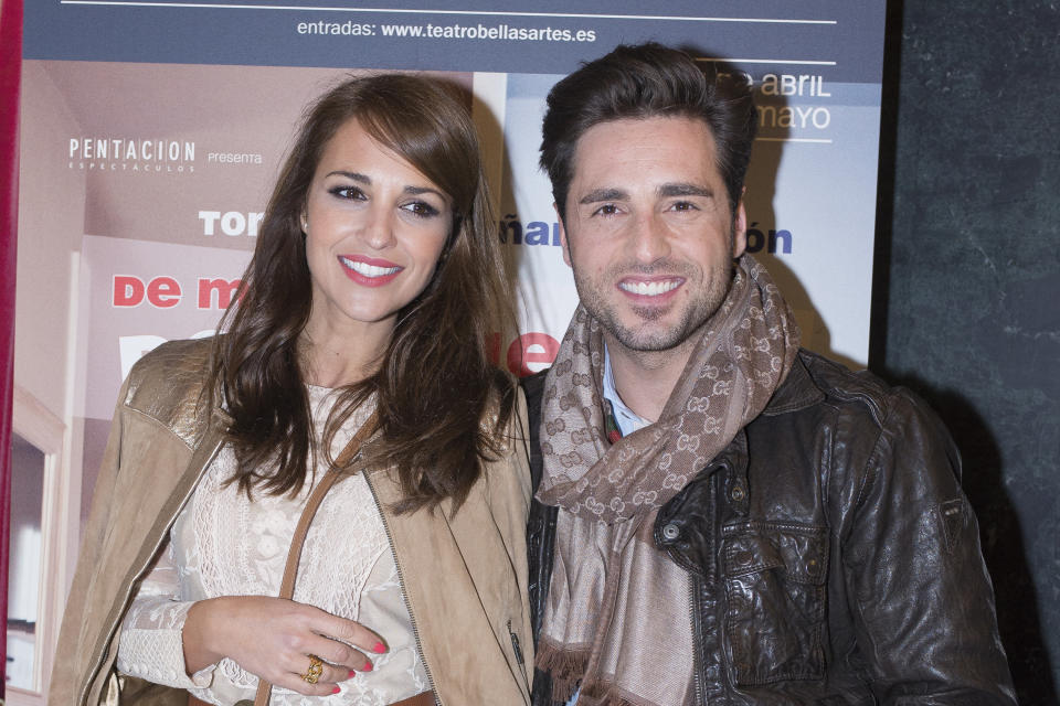 Singer David Bustamante (R) and actress Paula Echevarr��a (L)attend the premiere theater
