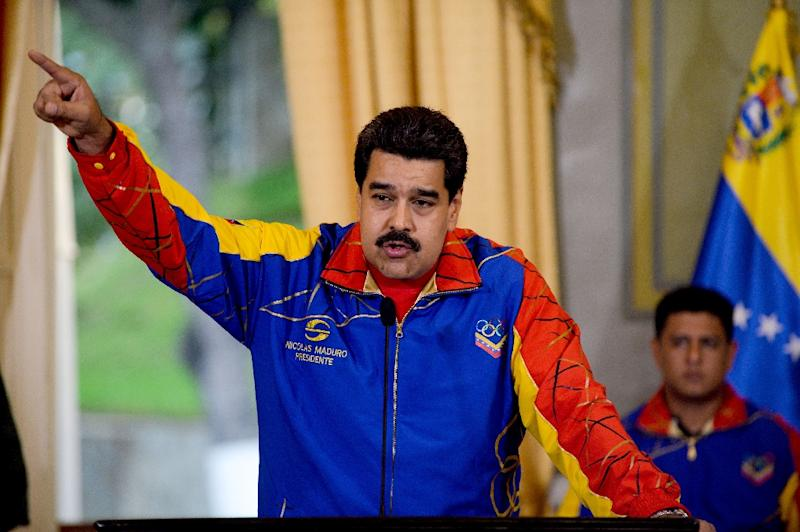 Venezuelan President Nicolas Maduro speaks during an event at Miraflores Palace in Caracas on June 16, 2015